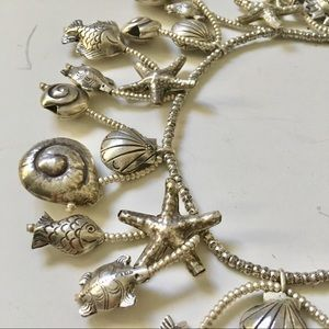 Sterling silver charm shell dangling fish necklace